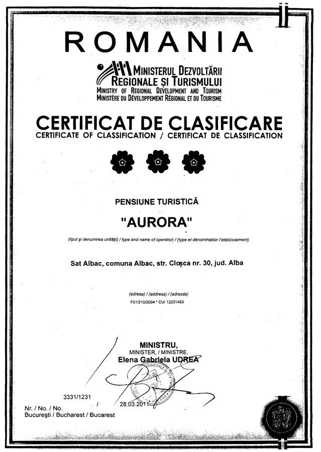 Certificat-Clasificare-inregistrare--Pensiunea-Aurora-1